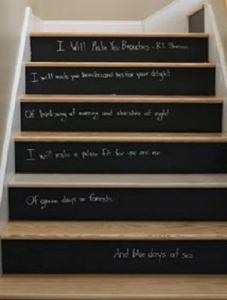 escalier avec marche peinture ardoise