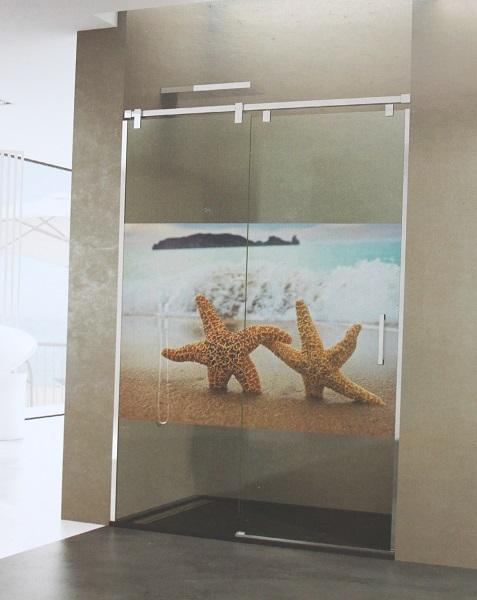 paroi de douche personnalisée impression vinyle robinet and co