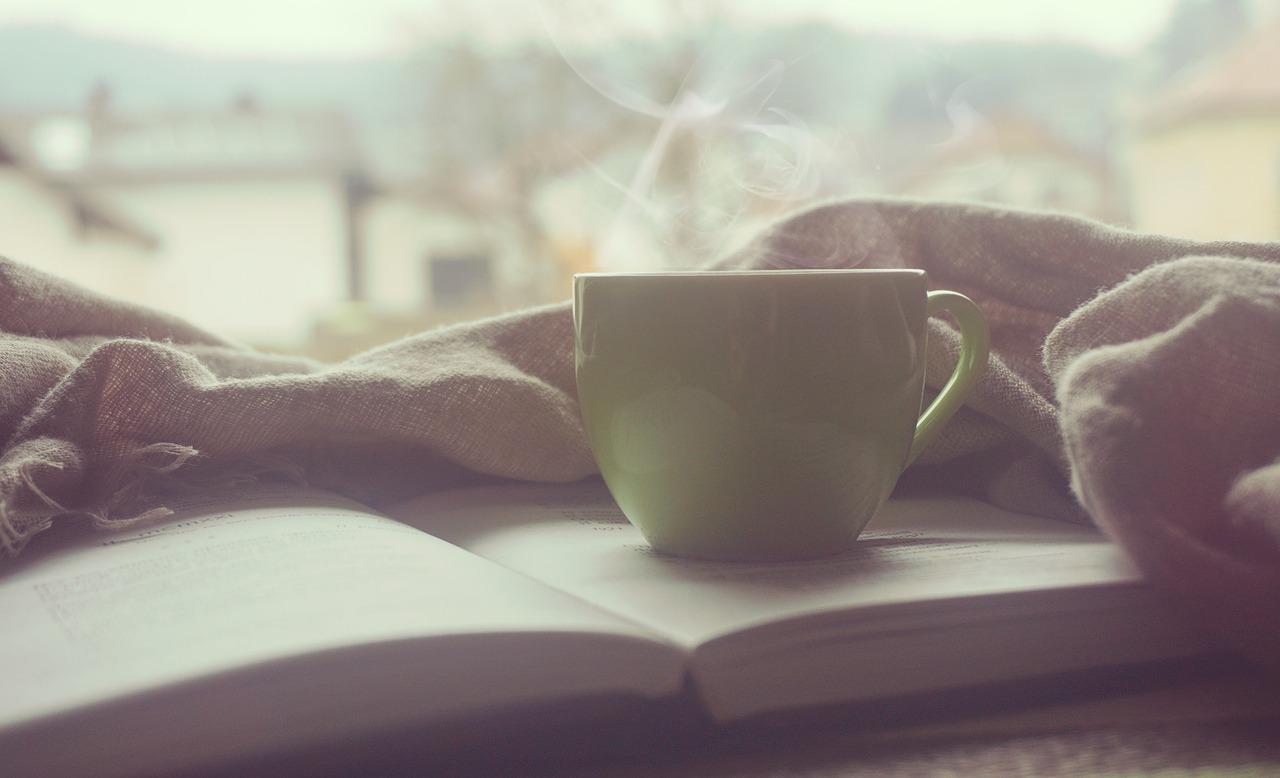 tasse de café livre plaid